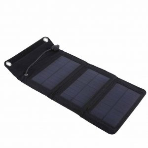 Portable Solar Panel, 5W 5V Waterproof Foldable Solar Panel Charger Outdoor Mobile Power Bank with USB Cable